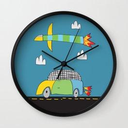 Car Plane Clouds Wall Clock