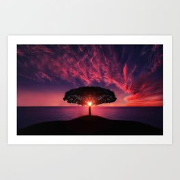 Purple Coastal Sunset with Lonely One Tree Hill color photograph / photography Art Print