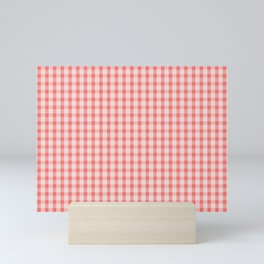 Coral Gingham Mini Art Print