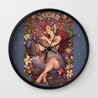 gamer Wall Clocks featuring Gamer girl Nouveau by Medusa Dollmaker