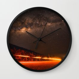 The Red Sky Road (Color) Wall Clock