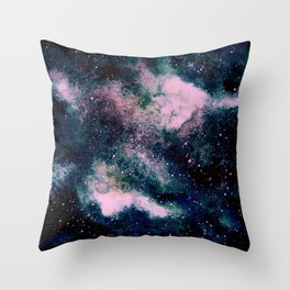 Dreamy Cloud Galaxy, Pink Throw Pillow