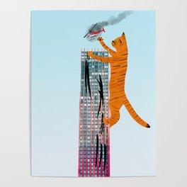 Help's Not Coming // Cat Art Print Poster