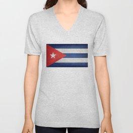 Flag of Cuba, grungy retro version Unisex V-Neck