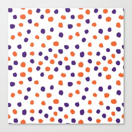 Orange and purple clemson polka dots university college alumni football fan gifts Canvas Print