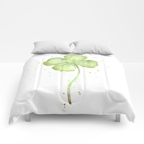 Clover Four Leaf Lucky Charm Green Clovers Comforters