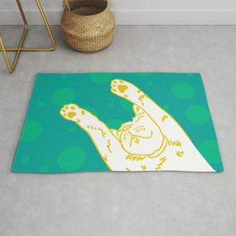 Contented Cat - Green Spots Rug