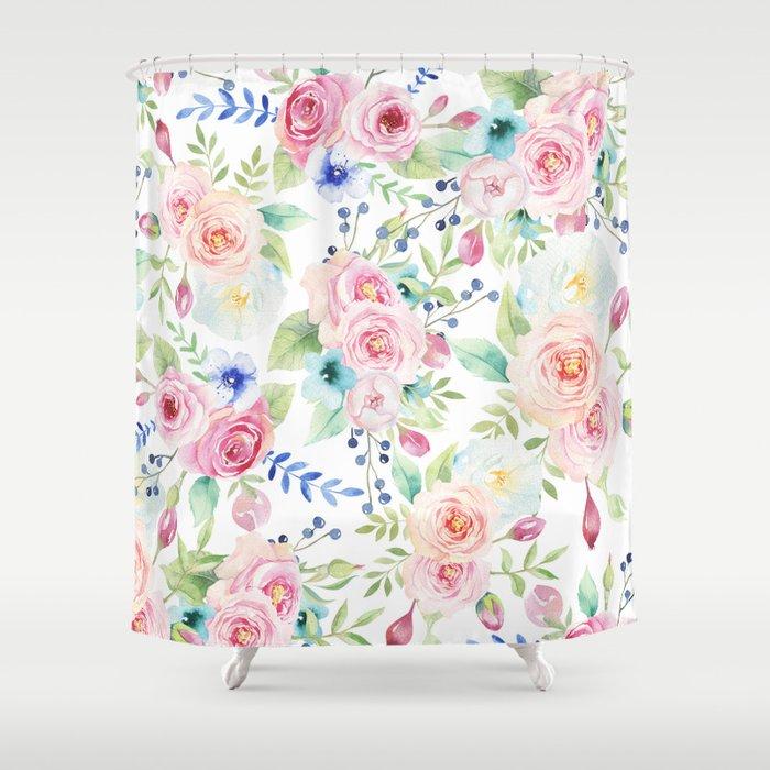 Blush Pink Watercolor Elegant Roses Floral Shower Curtain