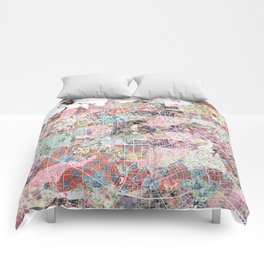 San Jose map flowers Comforters