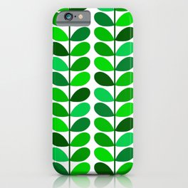 Mid Century Danish Leaves, Emerald and Lime Green iPhone Case