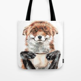 """ Morning fox "" Red fox with her morning coffee Tote Bag"