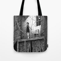 theatre Tote Bags featuring Puppet Theatre by Michael Brack