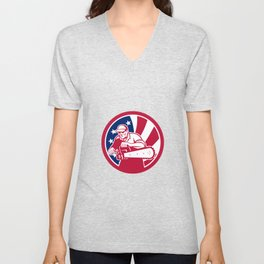 American Lumberjack USA Flag Icon Unisex V-Neck