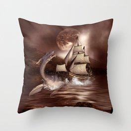 Awesome seadragon with ship Throw Pillow
