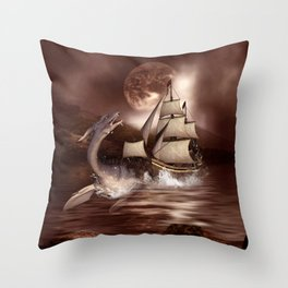 Awesome seadragon with ship Throw Pillow