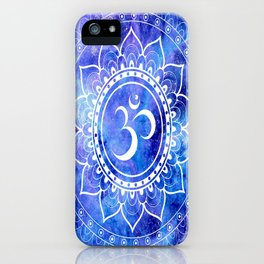 Om Mandala Blue Lavender Galaxy iPhone Case