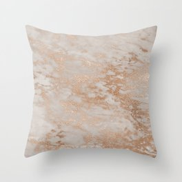 Rose Gold Copper Glitter Metal Foil Style Marble Throw Pillow