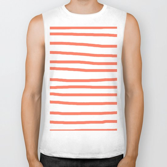 Simply Drawn Stripes in Deep Coral Biker Tank