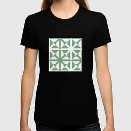 Spring geomentric concrete tiles pattern sage green T-shirt