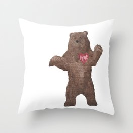 Braveheart Brave Bear Watercolor Bear Throw Pillow