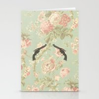guns Stationery Cards featuring Guns & Flowers by fyyff