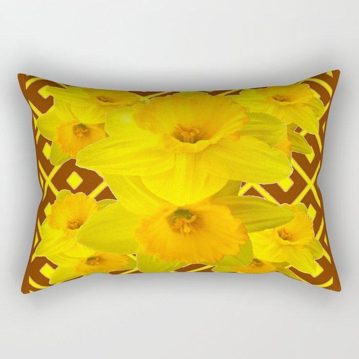 Coffee Brown Pattern of Golden Daffodils Art Rectangular Pillow