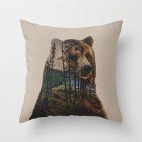 lake Throw Pillows featuring Bear Lake by Davies Babies