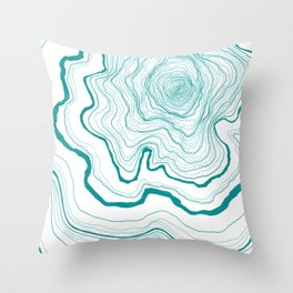 Tree Rings of Turquoise Throw Pillow