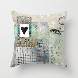 Blue & Grey Heart Abstract Art Collage Throw Pillow