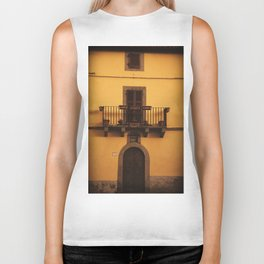 Yellow italian village house Biker Tank