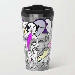 Black White Commotion Travel Mug