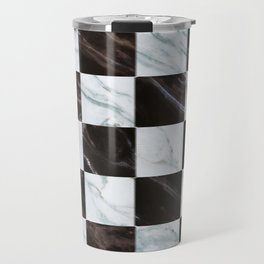 Zig zag checkered pattern with marbling Travel Mug