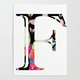 Butterfly Initial 'F' Poster