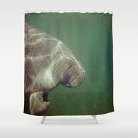 manatee Shower Curtains featuring Manatee by Twilight Wolf