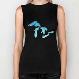 Great Lakes Blue Watercolor Biker Tank