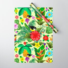 Birds and Nature Floral Exotic Seamless Pattern Wrapping Paper