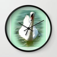 swan Wall Clocks featuring Swan by Art-Motiva