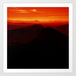 Red Horizon, Fire in the Distance. Art Print