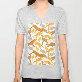 Pastel vintage orange brown spring cute animal pattern Unisex V-Neck