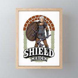 Shield Maiden Female Viking Warrior Norse Myth Framed Mini Art Print