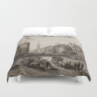 broadway Duvet Covers featuring Vintage Broadway NYC Illustration (1840) by BravuraMedia