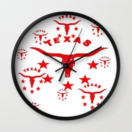 Red & White Texas Longhorn Logo Pattern Art Wall Clock
