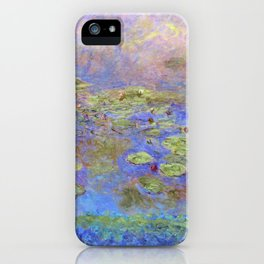 Water Lillies - Claude Monet (indigo blue) iPhone Case