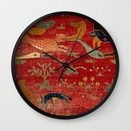 Animal Grotesques Mughal Carpet Fragment Digital Painting Wall Clock