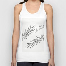 Eucalyptus leaves black and white Unisex Tank Top