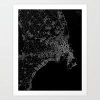 copenhagen Art Prints featuring Copenhagen by Line Line Lines