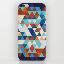 Geometric Triangle Blue, Brown  - Ethnic Inspired Pattern iPhone Skin