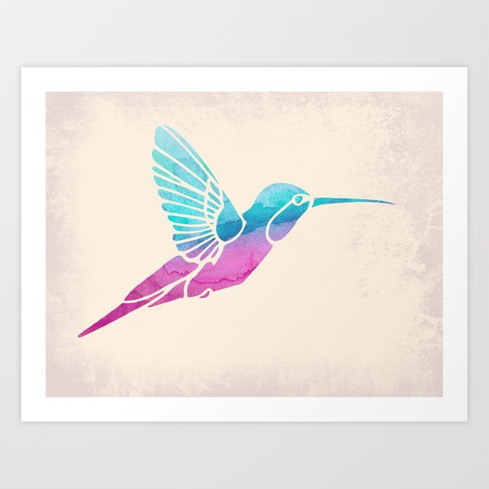 Watercolor Hummingbird Art Print