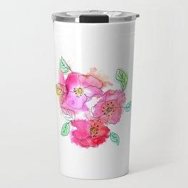 Pink Watercolor Flowers // Floral Feelings Travel Mug