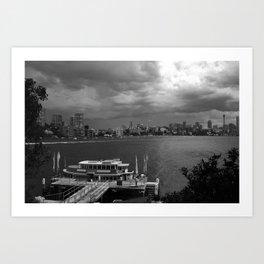 B & W of Sydney Harbour Art Print